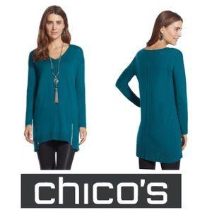 Chico's Zoe Zip Pullover Sweater SZ.0